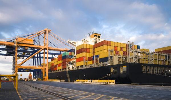 Vessel in port with gantry cranes